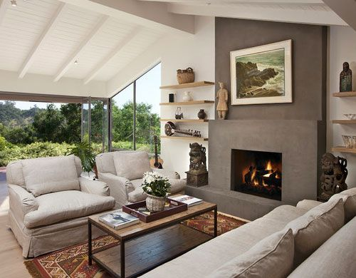 Click Pic For 24 Living Room Decorating Ideas | Feature Wall With Open  Shelves And Dark Grey Fireplace | Living Room Ideas | Home Sweet Home |  Pinterest ...