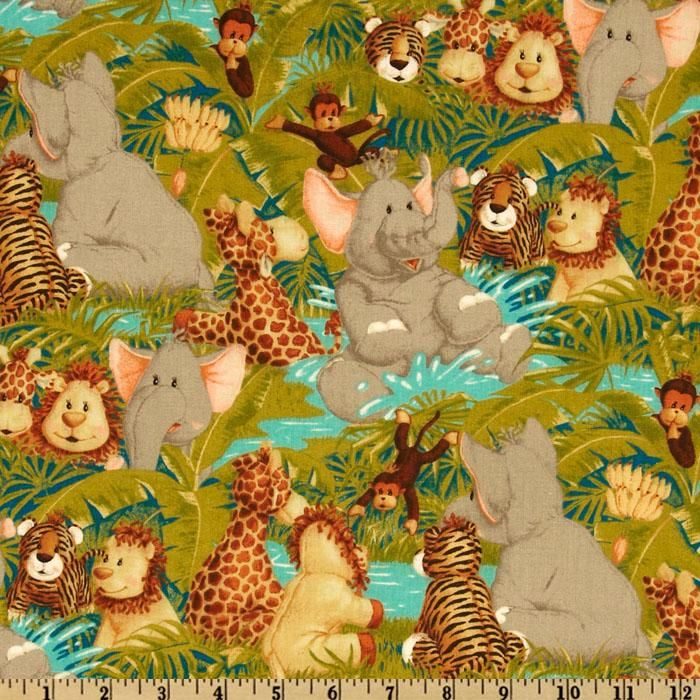 Jungle Babies Tossed Animals Green from @fabricdotcom  Designed by Patty Reed for Fabric Traditions, this cotton print fabric is perfect for quilting, apparel and home décor accents. Colors include brown, tan, teal, turquoise, olive and grey.