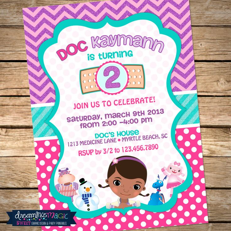 109 best doc mcstuffins party images on pinterest | birthday party, Birthday invitations