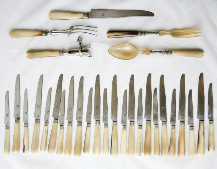 Boxed Set Of Bone Handle Knives And Serving Tableware | From a unique collection of antique and modern serving pieces at https://www.1stdibs.com/furniture/dining-entertaining/serving-pieces/