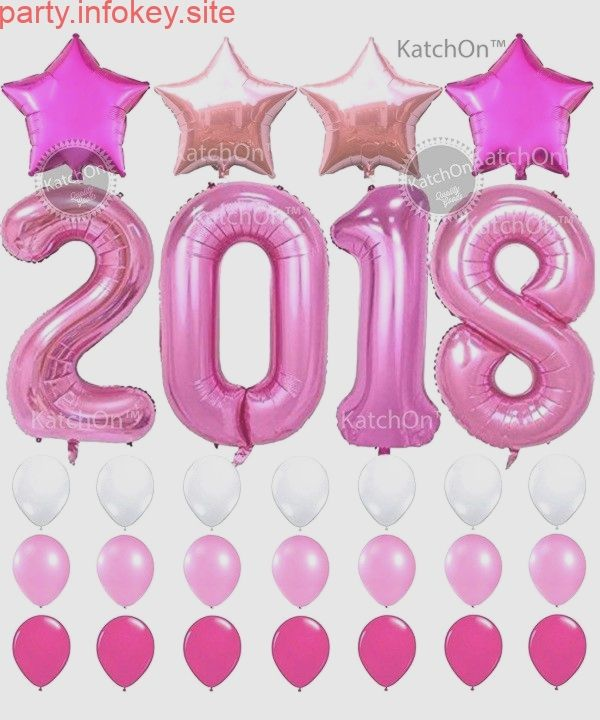 2018 Pink with Pink Stars Set - 2018 Pink Balloons Years Eve and Graduations Party Supplies -...