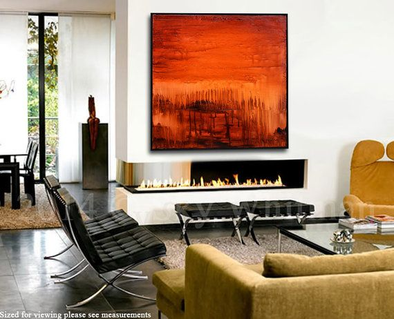 Large Original Abstract Framed Painting Modern Textured Square Oil Painting Amber Red Brown Abstract Art Glossy Contemporary Painting 37x37 on Etsy, $10,739.25