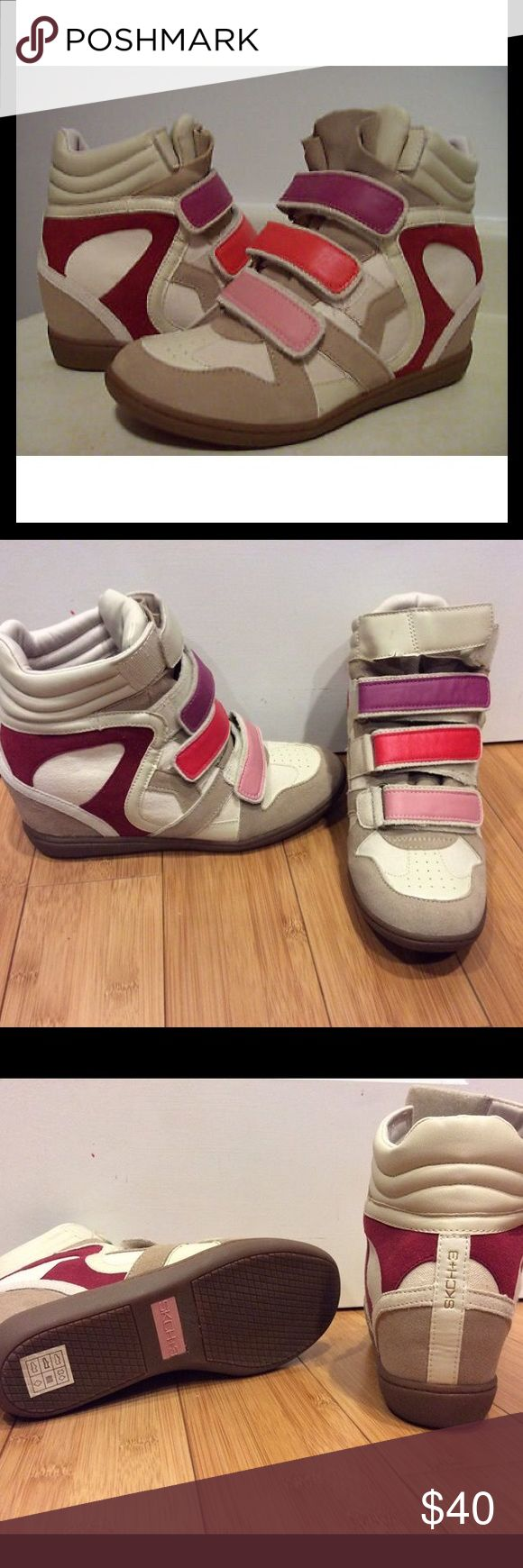 Sckh+3 Wedge sneakers EUC. Tried on and worn around house. Never worn outside. Stickers still on bottom of shoe. Skechers Shoes Sneakers