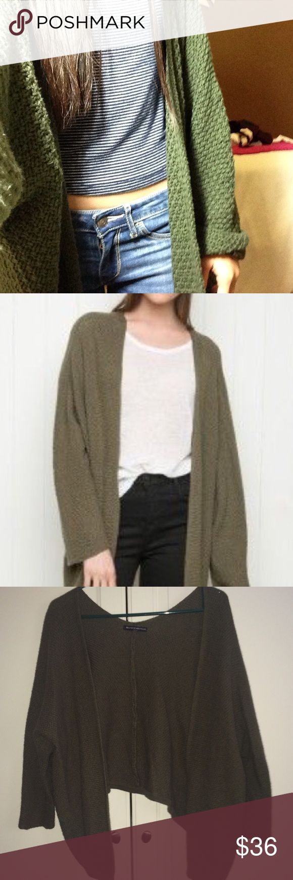 Brandy Melville Cardigan olive green Caroline (maybe??) cardigan, super cute only worn a few times Brandy Melville Sweaters Cardigans