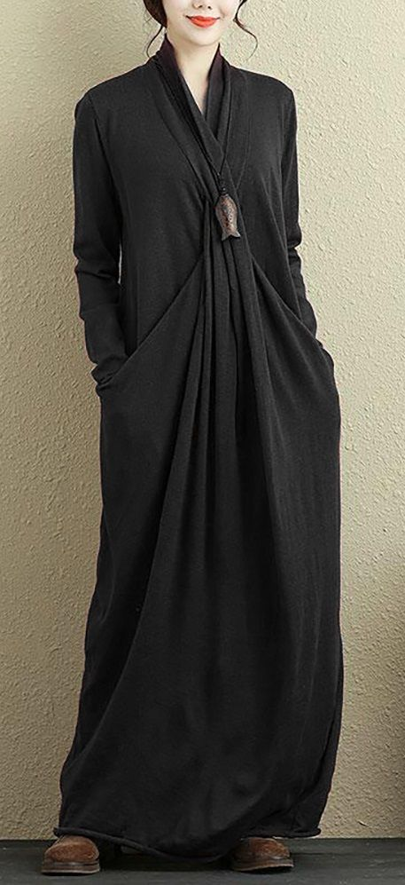 51% OFF! US$28.99 Pure Color Irregular Long Sleeve Maxi Dresses For Women.  SHOP NOW!