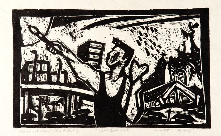 Nigel Brown Vision and Heart (1988) Linocut 400 x 750mm