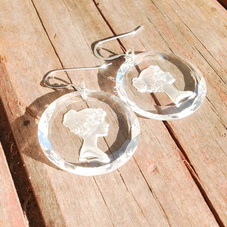 Glass cameo sterling silver earrings by BlingReVamped on Etsy