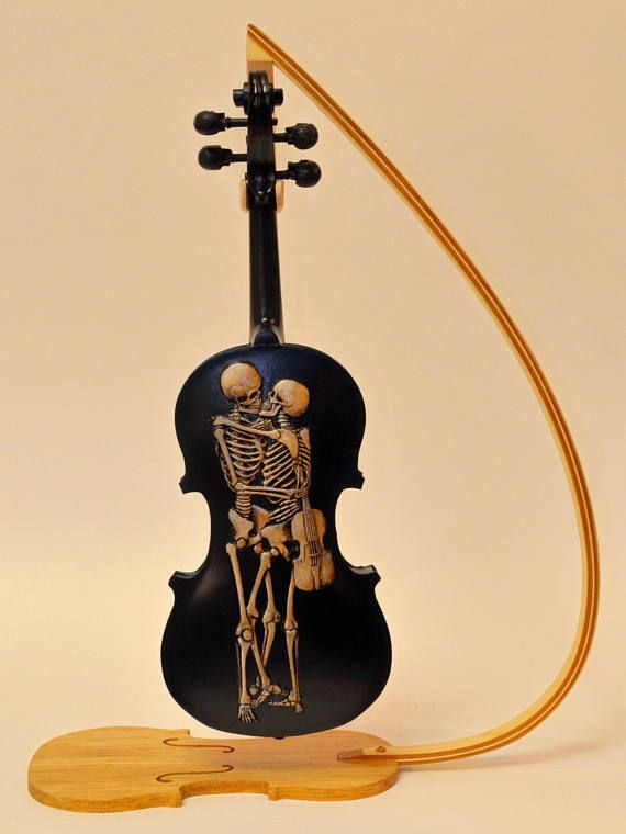 Carved Skull Violin, Memento Mori, Day of the Dead, Carved Violin, Skull Carving, Carved Skulls, Handmade Skulls This is a custom carved and painted violin. This is NOT a functional violin, it is a piece of art. It is made to order. The one in the photos was donated to raise money to buy