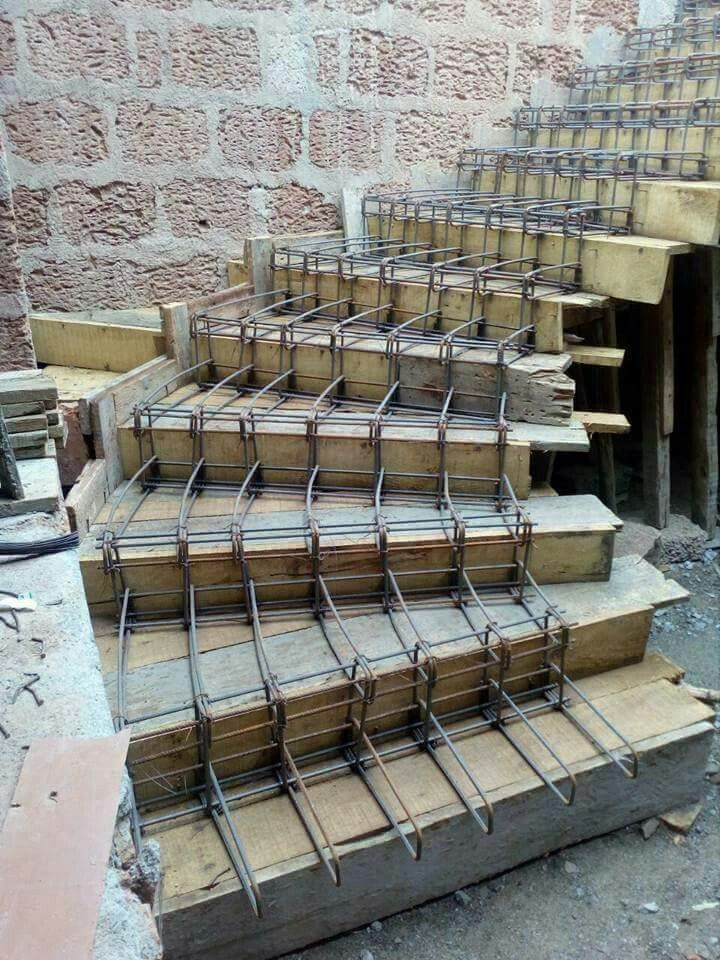 Covering Concrete Steps Precast : Slabless stair reinforcing work process continue till