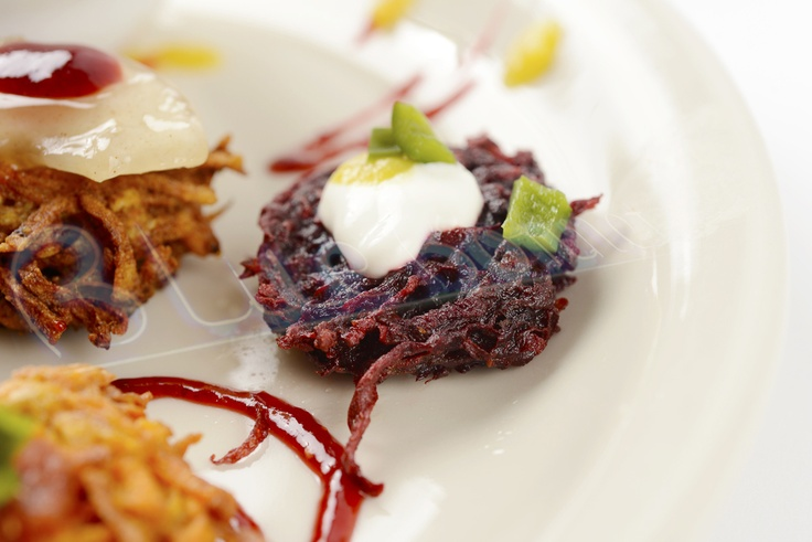 Who knew beets could look so good. Fresh beet latke topped with sour cream and smoked poblano