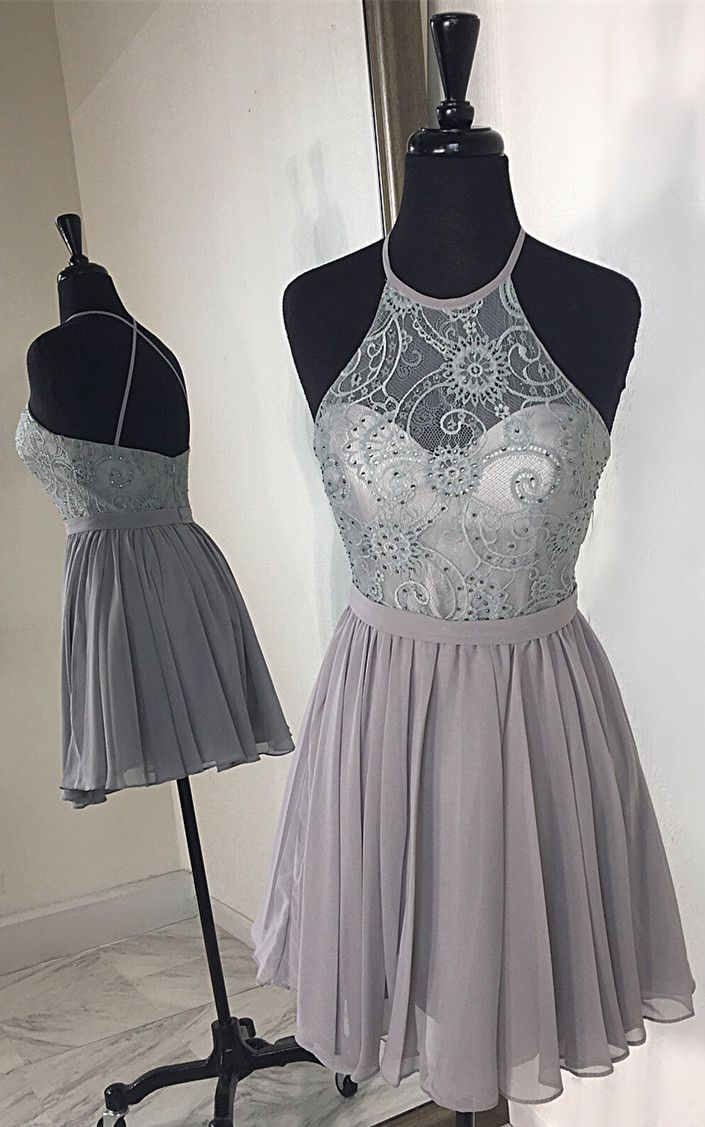 Halter short grey party dress with criss cross back from modsele