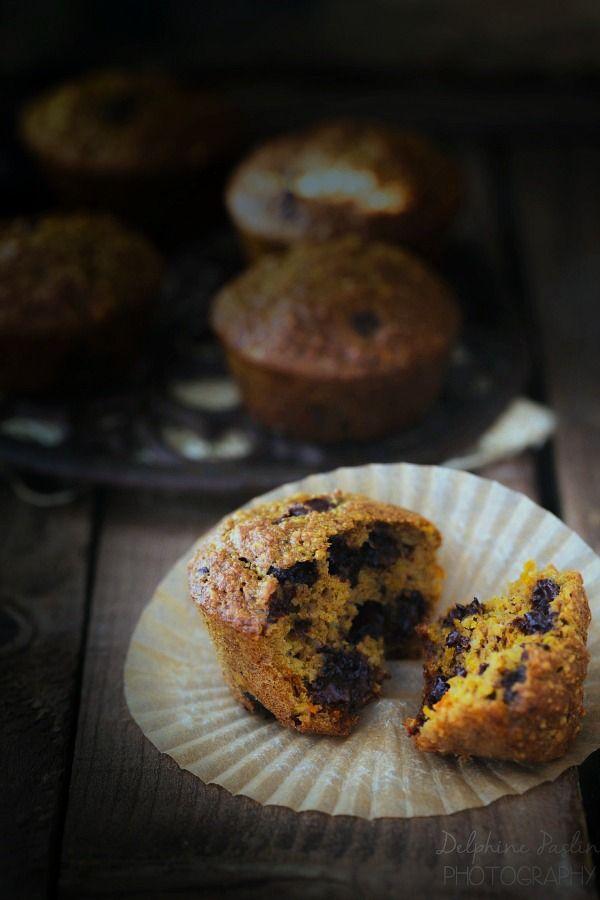 Muffins à la courge butternut, chocolat et noisettes