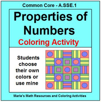 This is a coloring activity for a set of 12 problems on identifying Algebraic Properties of Numbers. Properties included: Commutative for add. and mult., Associative for add. and mult., Distributive, Identities for add. and mult., Symmetric, Reflexive, Inverses of add.