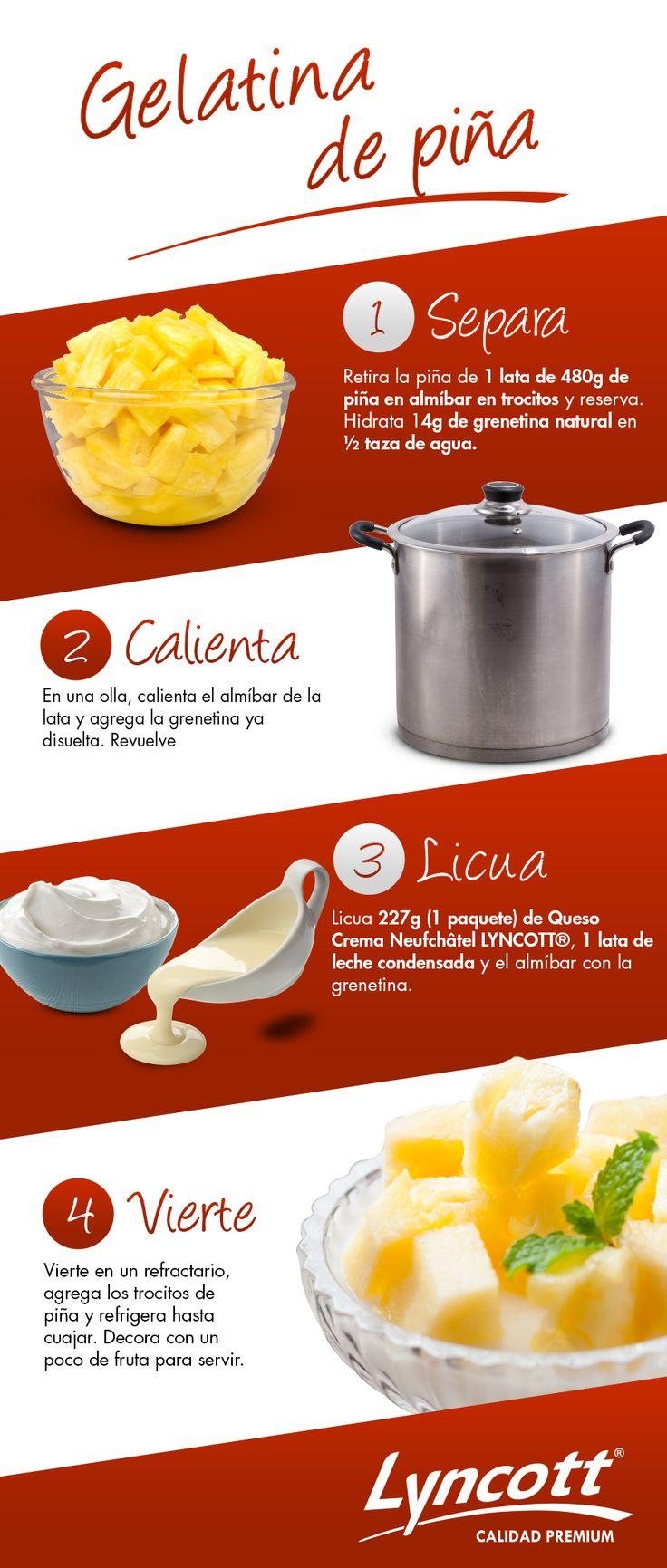 Gelatina de piña #Lyncott #RecetaFácil #Piña #Saludable #LecheCondensada #Queso #Postre #Gelatina