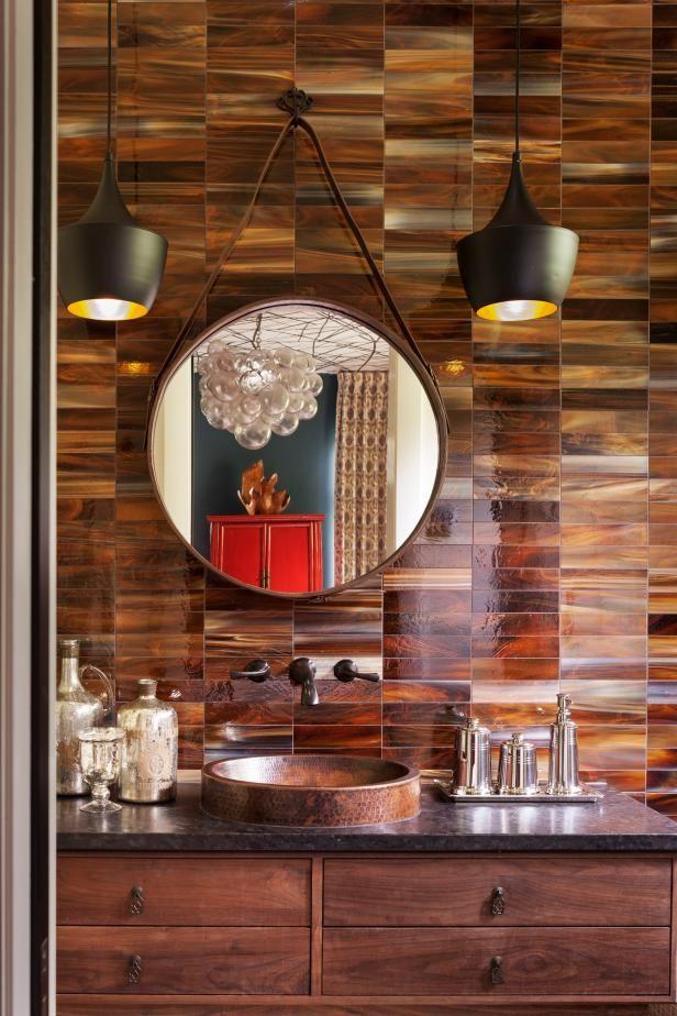 Tortoiseshell Chic | HGTV >> http://www.hgtv.com/design-blog/design/9-bold-bathroom-tile-designs?soc=pinterest