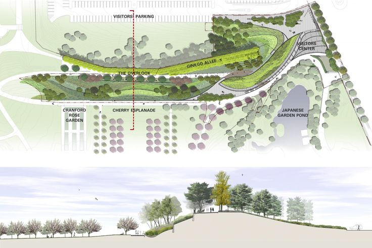 A broader landscape context was examined beyond the Visitor Center's 3-acre project area to establish a landscape master plan that addressed comprehensive environmental and landscape design issues and engaged all of the Garden's historic overlook and berm landscape. Aaron Booher, HM White