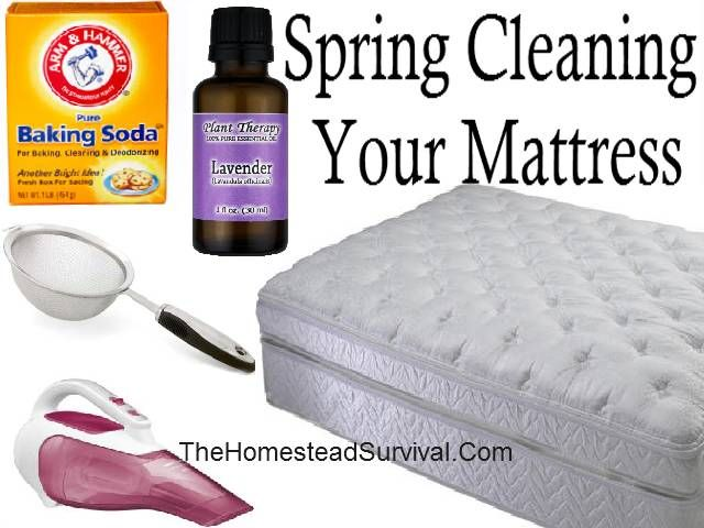 spring cleaning for your mattress: 1 cup baking soda, 8 drops lavender oil.  sift across mattress and let sit for 45 minutes.  vacuum twice. Lavender is antibacterial, kills dust mites, and promotes sleep.