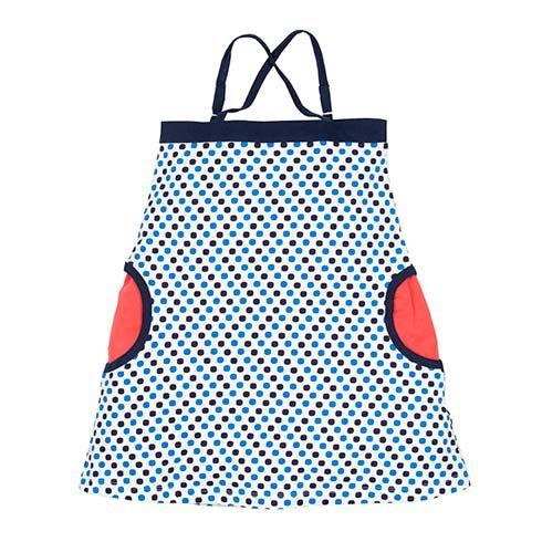 Organic Summer Dress Navy Blue Dots by Lasticot