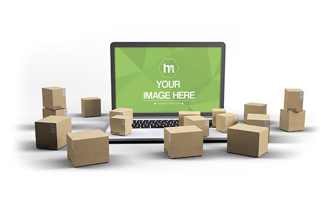 Download Laptop with 3D Boxes Mockup - Mediamodifier - Online ...