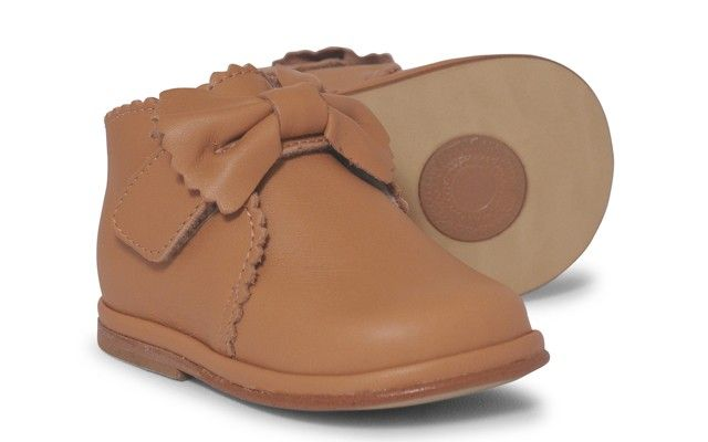 Baby Girls Camel Leather Velcro Boot