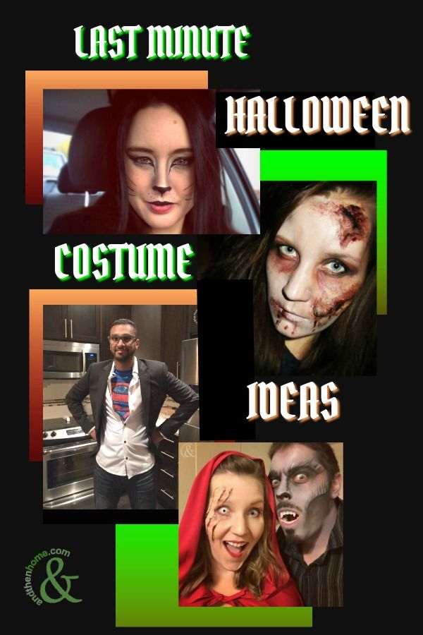Check out some of our favourite Last Minute Halloween Costume Ideas.  #halloween #halloweencostume #halloweenmakeup #makeup  #andthenhome #awesomeideas #diyhalloween  http://www.andthenhome.com/awesome-last-minute-halloween-costume-ideas/