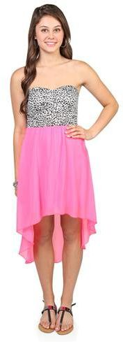#Deb Shops                #Skirt                    #strapless #dress #with #neon #high #skirt #cheetah #print #bodice            strapless day dress with neon high low skirt and cheetah print bodice                                   http://www.seapai.com/product.aspx?PID=1871834