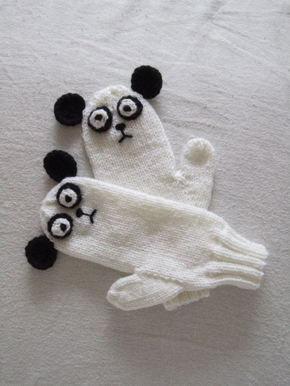 Panda mittens soft pure wool for  children by HotScones on Etsy, $60.00