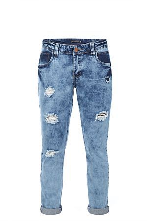 Marble wash. Rigid denim. Regular rise waist. Abraisions. Turn up hem. Slouchy fit.<BR><BR>Fabric Content:<BR>80% Cotton / 20% Polyester-woven<BR><BR>Wash Care:<BR>Machine washable do not iron on trim
