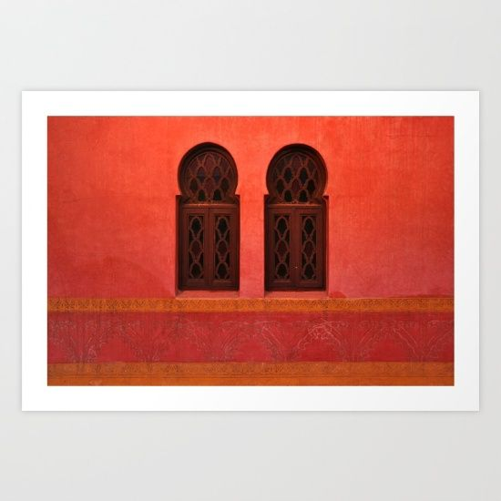 Collect your choice of gallery quality Giclée, or fine art prints custom trimmed by hand in a variety of sizes with a white border for framing. https://society6.com/product/moroccan-building-marrakesh-morocco_print?curator=wellglow  J. Guoth Designers selection. Bee and Glow.