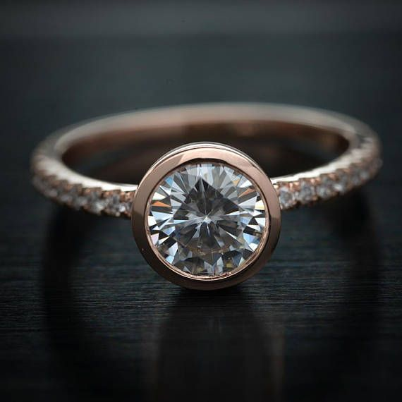d784d7852316c Made to order Gorgeous bezel set Moissanite and Natural diamonds ...