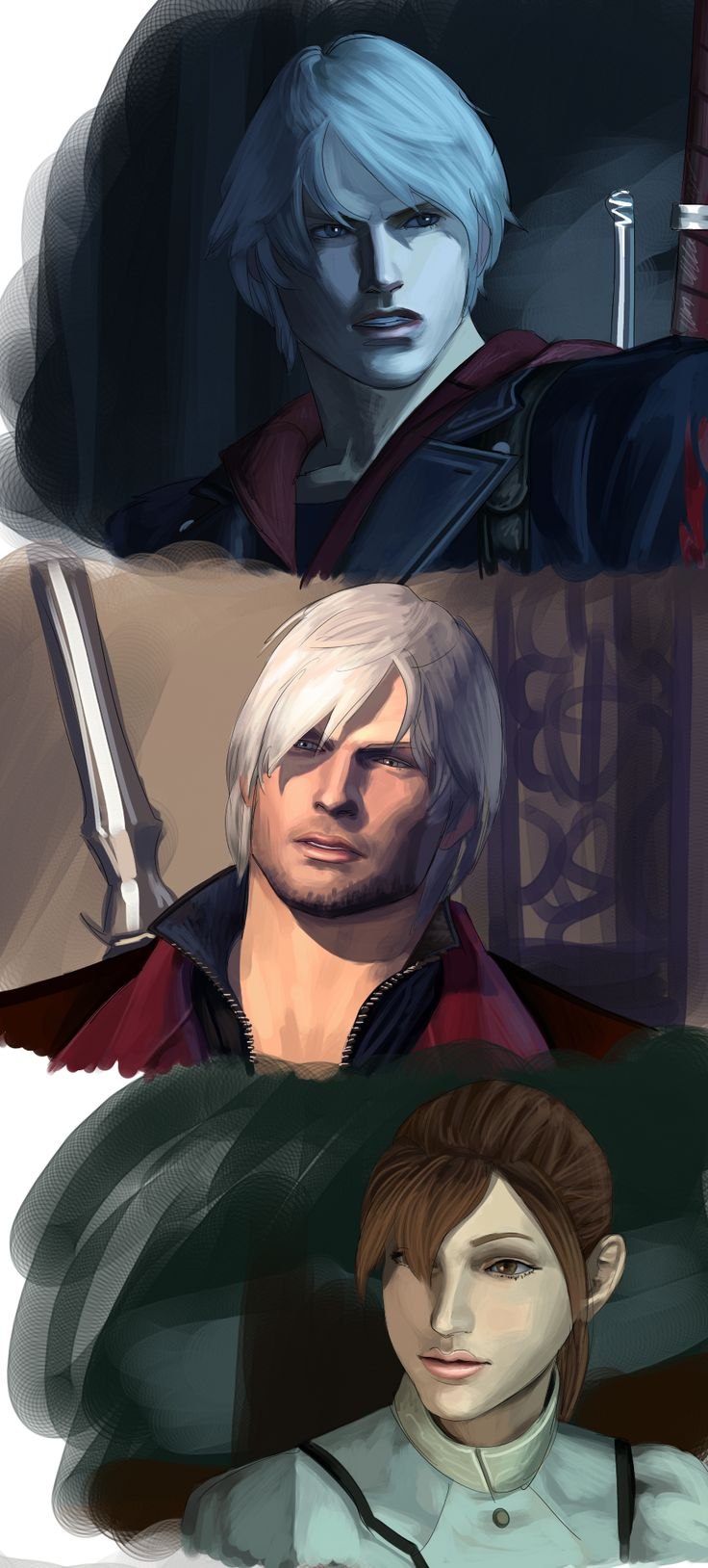 more dmc renders by itchcrotch.deviantart.com on @deviantART Devil May Cry 4 Characters:  Nero, Dante, and Kyrie