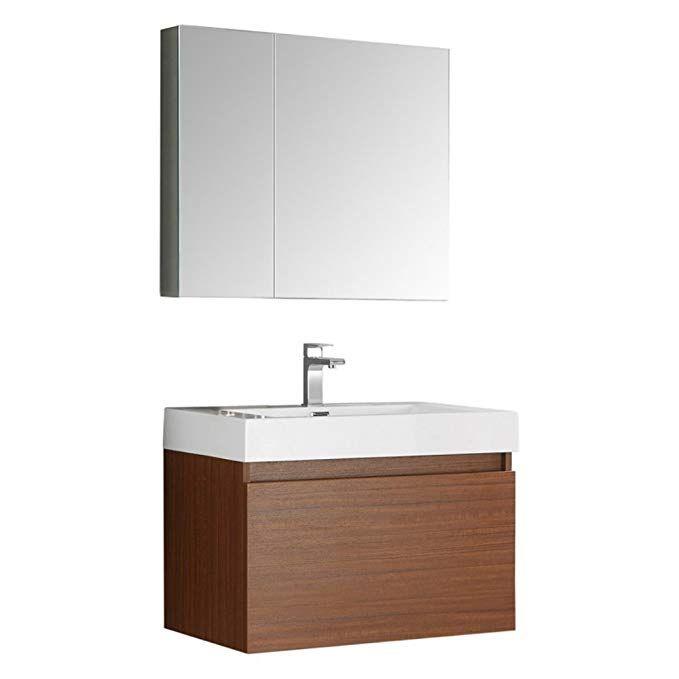 Fresca Mezzo 30 Teak Wall Hung Modern Bathroom Vanity With
