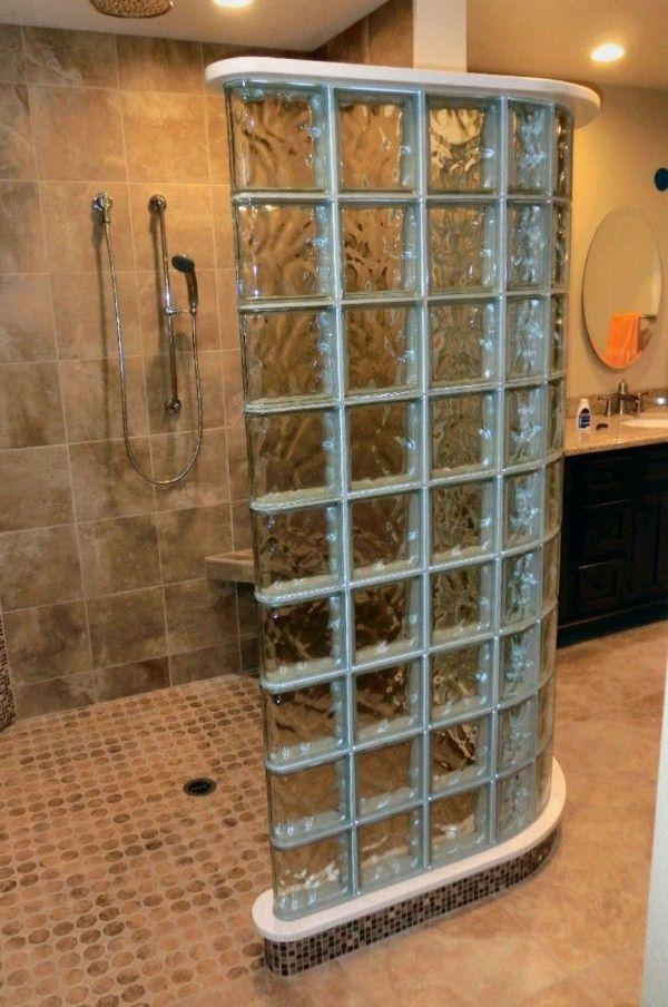 briques de verre recherchent douche moderne