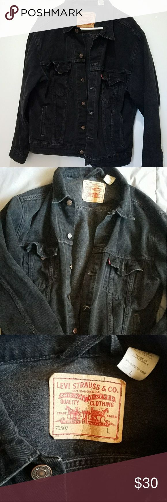 Black levis denim jacket Slightly worn and distressed men's denim Levis denim jacket. Mens size large but also a women's large or a slightly oversized medium. Distressing looks intentional. Levi's Jackets & Coats Jean Jackets