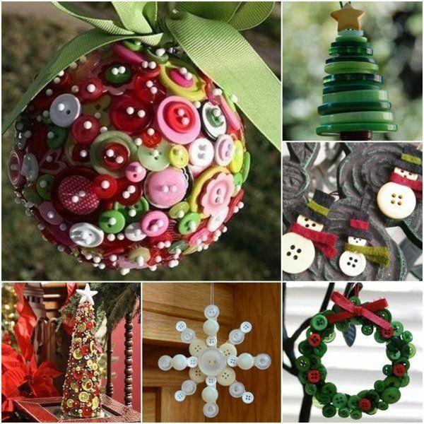 weihnachtsdekoration basteln weihnachtsbastelleien mit knöpfen