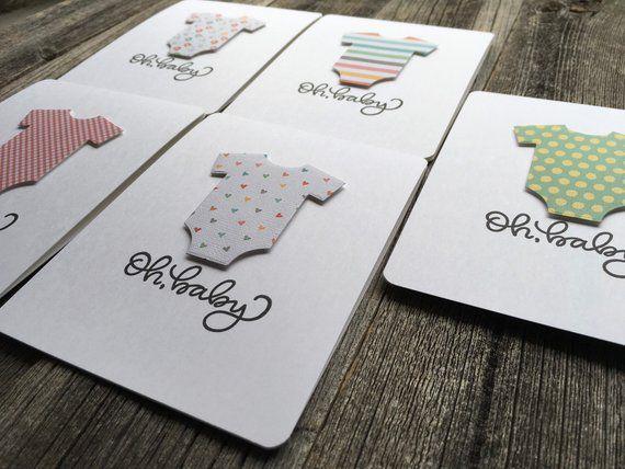 Single Card Onesie Card For New Baby Baby Shower Card Handmade