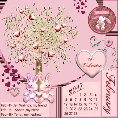 Hi Speedy thanks for the fun again and here is my Feb.2017 calendar I made my own calendar by numbers and date / used the font – Script / YU Gothic UI Semilight made it with the loving Blog train freebie – TDE02-PinkInLove_KJDdesigns , thanks Karen 3 Birthdays this month ,  Feb. 11 – my friend Jan Walinga who I work for every friday by cleaning his house ,  Feb.15 – my niece Annita –  Feb.18 – Terry , hubby from my niece Petra shadowed myself
