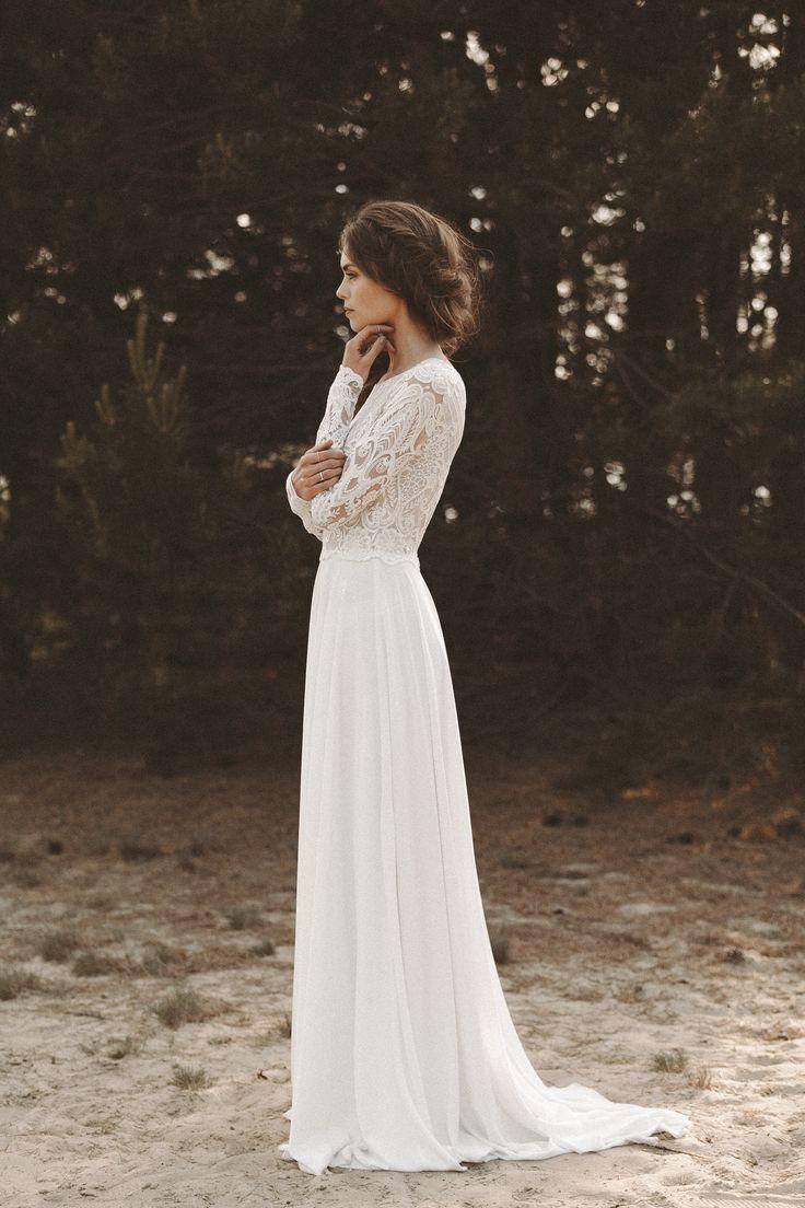 Brautkleid lange Spitzenärmel Rückenausschnitt Boho Hochzeitskleid Vintage Brautfrisur Pflechtfrisur