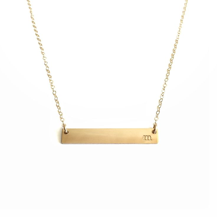 "all lower case typewriter font initial stamped identity necklace pick your letter ""a, b, c, etc"" 1.5 inch bar 18 inch chain 14 kt gold filled"