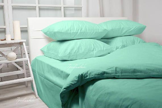 Beddings Bedding set Tiffany blue bedding 100% cotton sateen. Gifts for Tiffany wedding