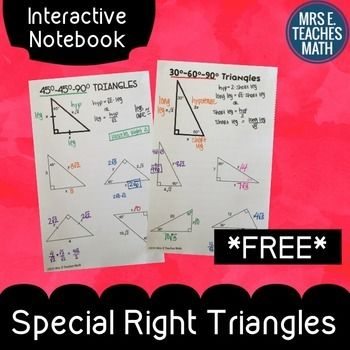 Special Right Triangles Interactive Notebook Page by Mrs E Teaches Math | Teachers Pay Teachers