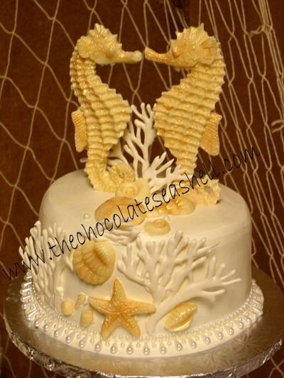 Seahorse wedding cake topper made of white by AChocolateSeashell, $58.00