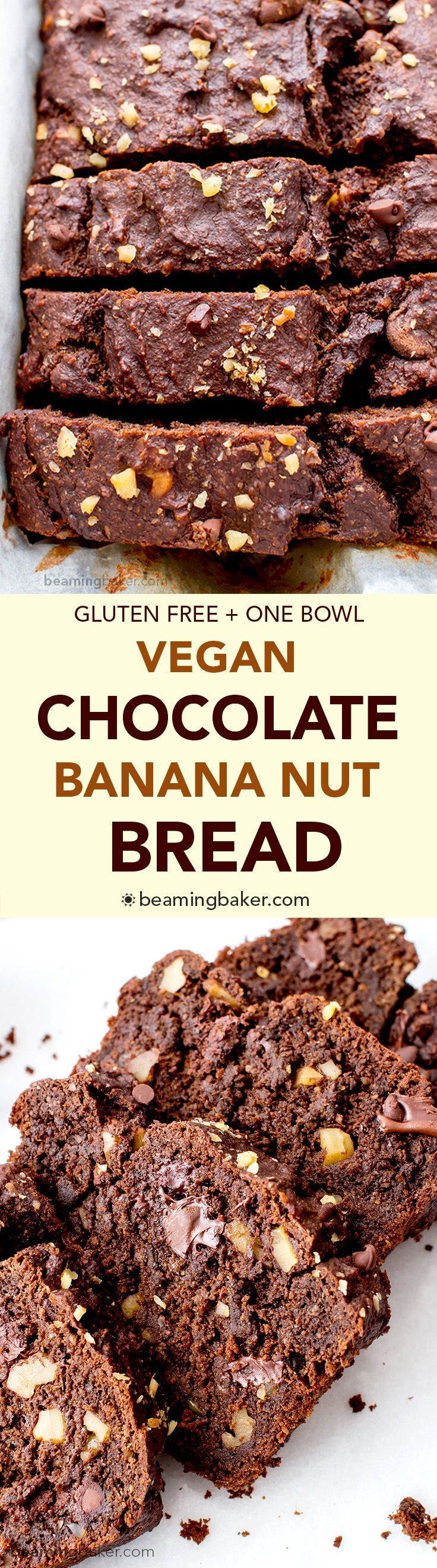 Vegan Chocolate Banana Nut Bread (V+GF): A one bowl recipe for rich, moist and chocolatey banana bread with walnuts. #Vegan #GlutenFree | http://BeamingBaker.com