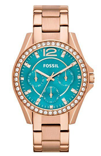 Fossil 'Riley' Round Crystal Bezel Bracelet Watch, 38mm | Nordstrom