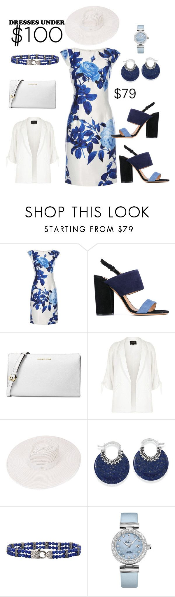 """Blue Garden"" by lulu13nyc ❤ liked on Polyvore featuring Dorothy Perkins, Salvatore Ferragamo, Michael Kors, River Island, Maison Michel, Stephen Webster and OMEGA"