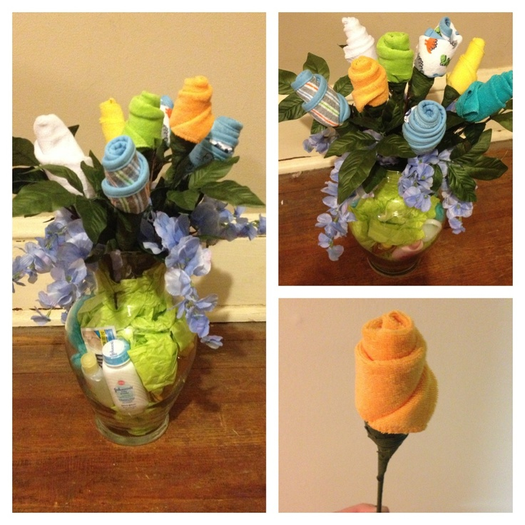 My DIY Baby Shower Gift I Made Flowers Are Made From Baby Wash Cloths