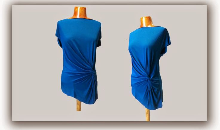 Blouse with draped in left front side - viscoze lycra