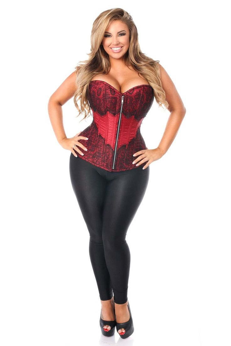 Fullbust corset made of premium brocade fabric trimmed in eyelash lace. Premium front metal zipper closure. 8 spiral steel bones with 4 static back bones and 4 static front bones. 100% Cotton twill lining. 6' Modesty panel. Nickel brass grommets with thick cording in the back for cinching. Hand Wash Only.