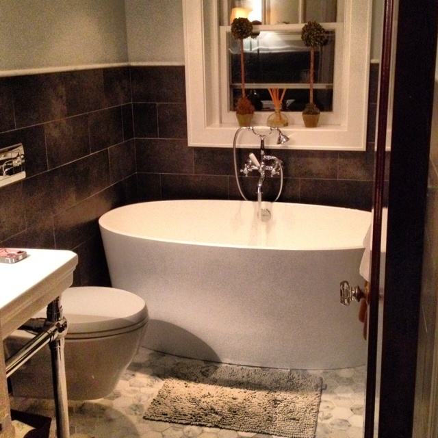 Our New Powder Room,Victoria And Albert Bath, Restoration Hardwares Sinks  And Toto Toilet