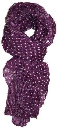 LibbySue-Border Print Polka-Dot Crinkle Scarf in a Choice of Colors, Plum Purple,